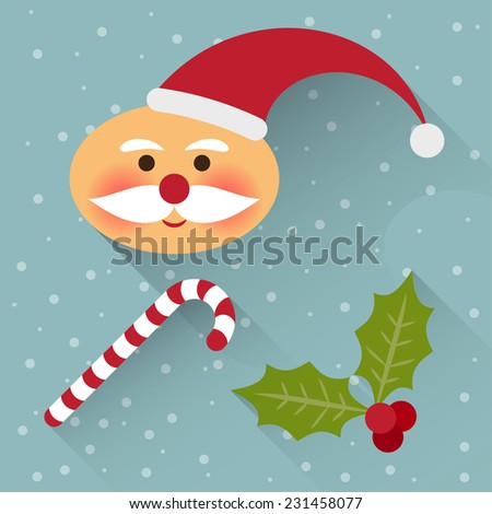 funny cartoon winter holidays background with cute Santa Claus, lollipop and branch of Holly isolated on the gray-blue background