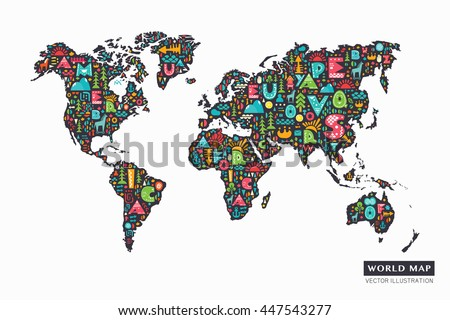 World map cartoon stock images royalty free images vectors funny cartoon world map with alphabet letters and design abstract elements vector illustration gumiabroncs Images