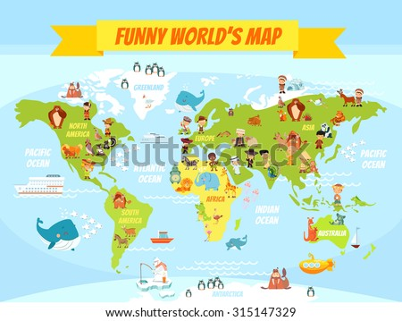 Funny cartoon world map people various vectores en stock 315147329 funny cartoon world map with people of various nationalities and animals vector illustration for preschool gumiabroncs Gallery