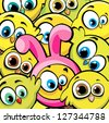 Funny cartoon yellow birds and chicken looks like a pink bunny. Easter vector background. - stock vector