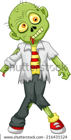 Funny cartoon zombie - stock vector