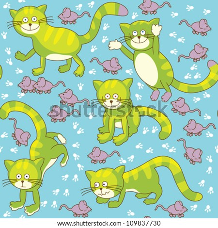 Funny cat and mouse seamless texture