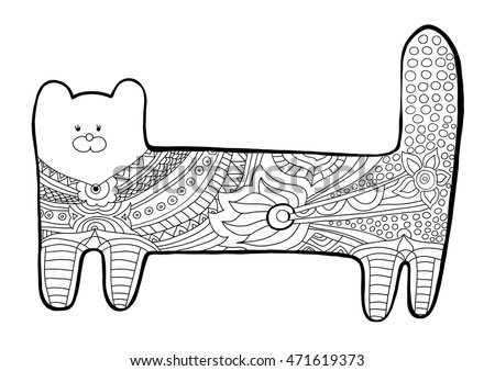 Funny Cat Coloring Book For Adults Black And White Pattern With Floral
