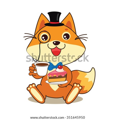 Funny Cat In Bowler Hat And Monocle, And Cake In His Hands. Vector Cartoon Animals Illustration. Funny Cat Memes. Funny Cat Jokes. Funny Cat Gourmet. Funny Cat Poster. Funny Cat Stuff. - stock vector