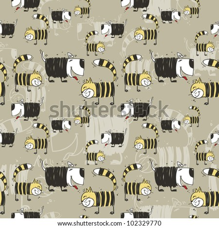 Funny cats and dogs seamless texture. Vector illustration - stock vector