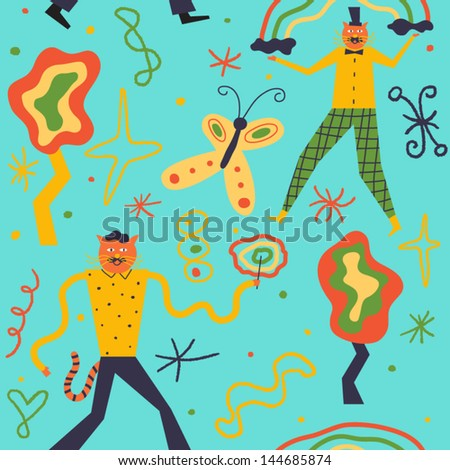 Funny cats conjure incredible color spells. Vector seamless background - stock vector
