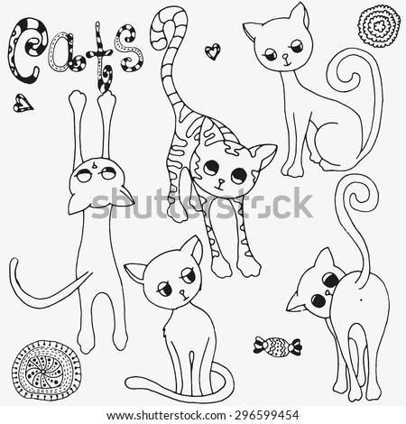 Funny cats sketch Vector Collection. Page for coloring book.