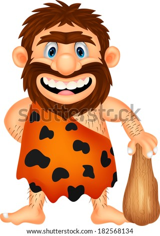 Funny caveman cartoon - stock vector