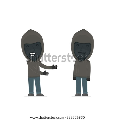 Funny Character Anonymous Hackers introduces his shy friend. Poses for interaction with other characters from this series