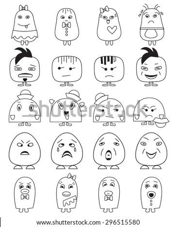 Funny character faces avatars.Doodle style vector icons set.