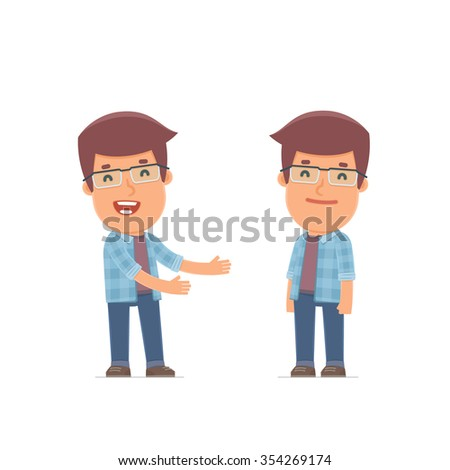 Funny Character Freelancer introduces his shy friend. Poses for interaction with other characters from this series - stock vector