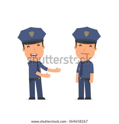 Funny Character Officer se introduces his shy friend. Poses for interaction with other characters from this series