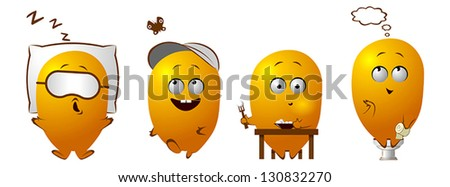 Funny character sleeping, walking, eating, pooping - stock vector