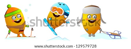 Funny character snowboarder, skier, sleigh - stock vector