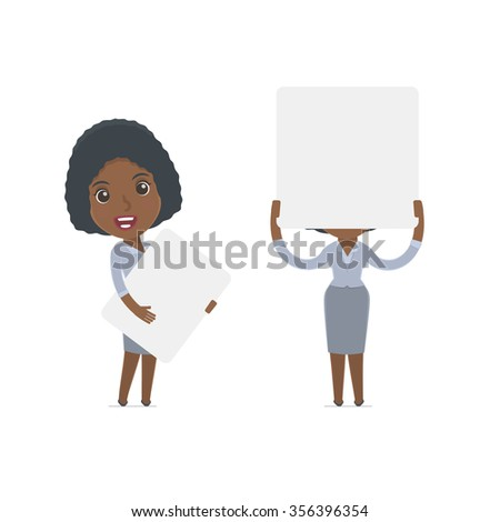 Funny Character Social Worker holds and interacts with blank forms or objects. for use in presentations, etc. - stock vector