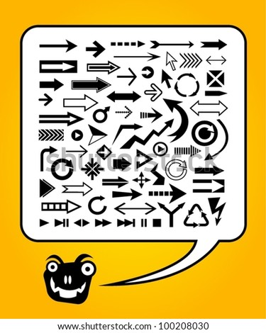 Funny character with big set of various arrows. - stock vector