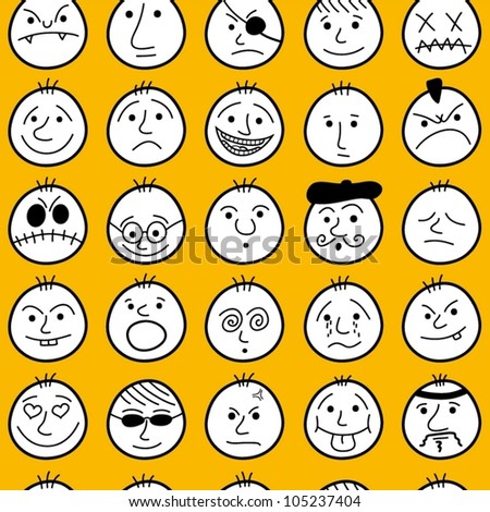 Funny characters. Seamless pattern. - stock vector