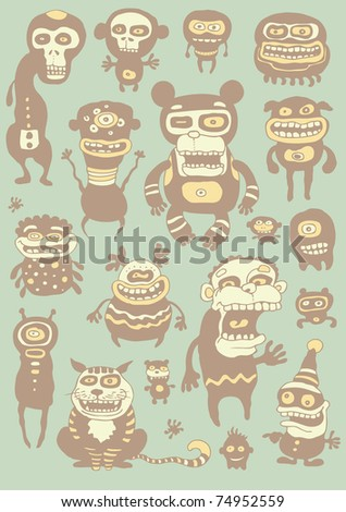 funny characters set. vector illustration.