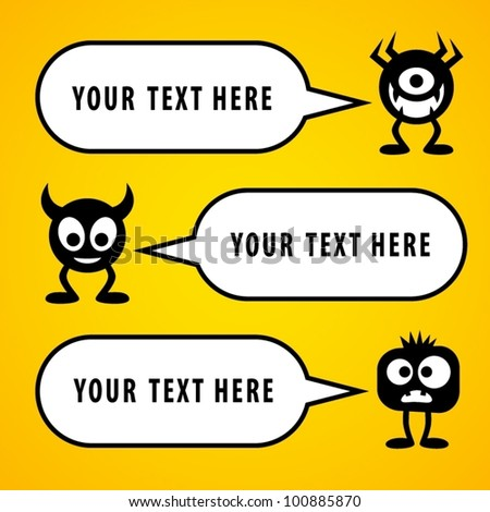Funny characters with speech bubbles. - stock vector