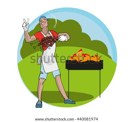 Funny Chef and delicious hot skewers of lamb. - stock vector