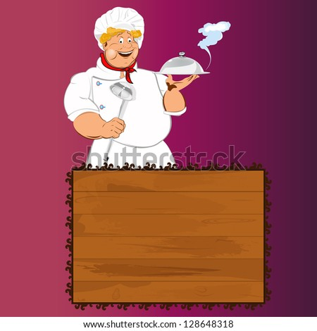 Funny Chef.Best food for gourmet.Vector