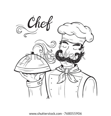 Funny Chef Character With Tray Of Food In Hand Black And White Outline Drawing