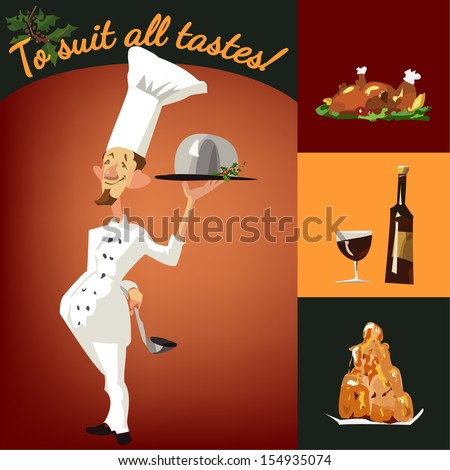 Funny chef serving dishes; Christmas set of food - stock vector