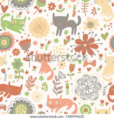 Funny childish cartoon kittens in spring flowers. Seamless pattern can be used for wallpapers, pattern fills, web page backgrounds,surface textures. Gorgeous seamless floral background