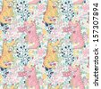 Funny childish seamless pattern made of cute dragons in flowers in vector. Seamless pattern can be used for wallpapers, pattern fills, web page backgrounds,surface textures - stock vector