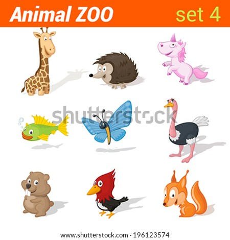 Funny children animals icon set. Kid language learning elements. Giraffe, hedgehog, unicorn, fish, butterfly, ostrich, hamster, woodpecker, squirrel.  Animal Zoo collection. - stock vector