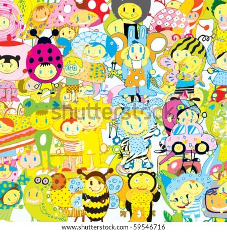 Funny Children Background (vector) - stock vector