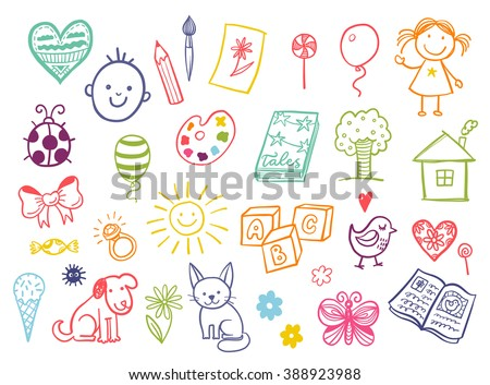 funny children drawing vector doodle set