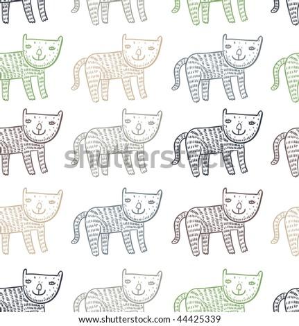 Funny children's cartoon seamless pattern - stock vector