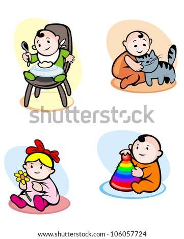 Funny childs in cartoon style eating and playing. Rasterized version also available in gallery - stock vector