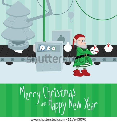 Funny christmas and happy new year postcard with elf painting the christmas toys on north pole present factory - stock vector
