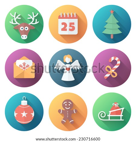 Funny Christmas Bright Colors Ball Icons in Flat Style with Long Shadows - stock vector