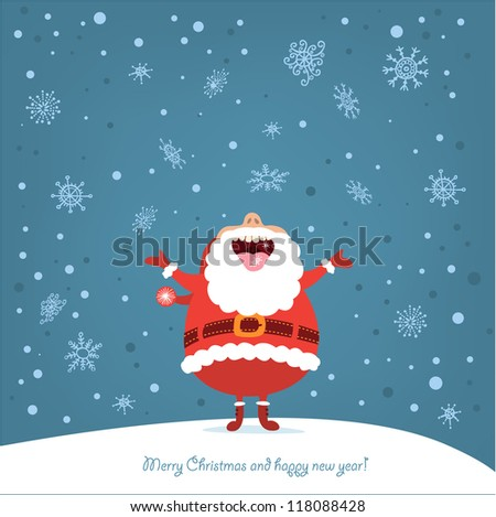 Funny Christmas card with Santa - stock vector