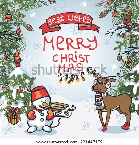 Funny Christmas Greeting Card Cute Cartoon Stock Vector HD (Royalty ...