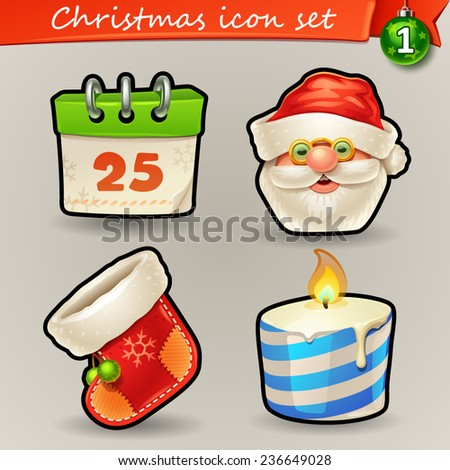 Funny Christmas icons-1 - stock vector
