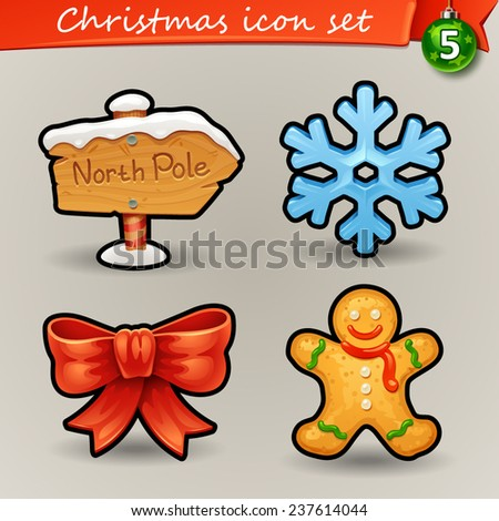 Funny Christmas icons-5 - stock vector