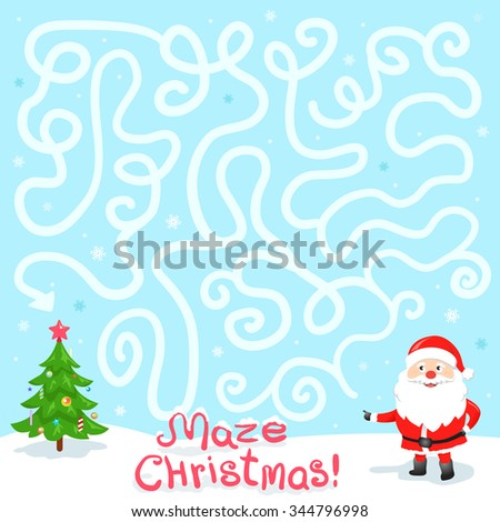 Funny Christmas Maze Game: Santa Claus Need Find the Way to the Christmas Tree. New Year Illustration - stock vector