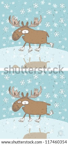 Funny Christmas Moos Mind Game... Task find ten differences! ... Solution is in hidden layer! - stock vector