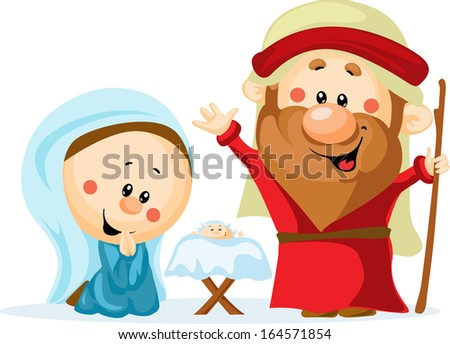 Funny Christmas nativity scene with holy family - Christmas crib, baby Jesus, virgin Mary and Joseph (cute vector illustration) - stock vector