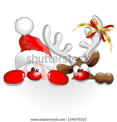 Funny Christmas Santa and Reindeer Cartoon  - stock vector