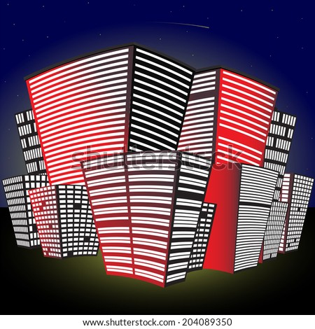 Funny Cityscape at night. Made in vector - stock vector