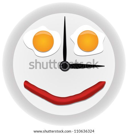 Funny clock with scrambled eggs - stock vector