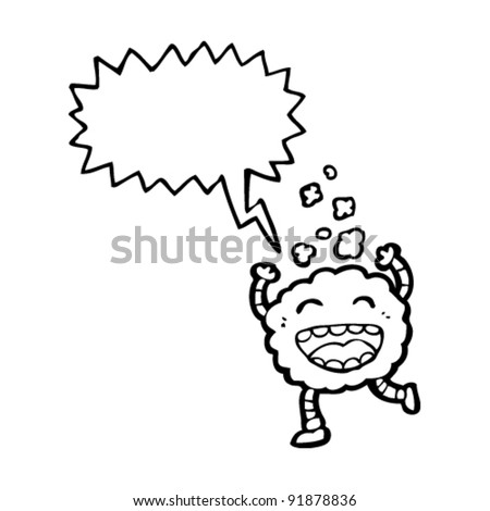 funny cloud creature cartoon with shout balloon - stock vector