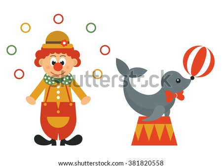 funny clown and seal animal - stock vector
