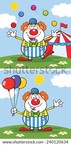 Funny Clown Cartoon Character 2. Vector Collection Set - stock vector