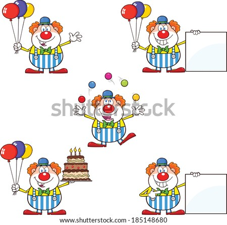 Funny Clown Cartoon Characters 2. Vector Collection Set - stock vector
